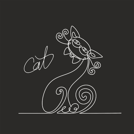 Cat. Continuous line drawing. Funny kitten. Lettering.  Black background.  The effect of the chalk Board. Vector