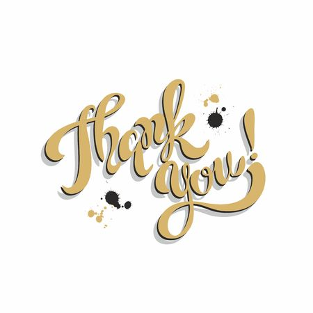 Thank you. Lettering. Golden. Blots.  Inspirational writing. Postcard. Vector. Ilustrace