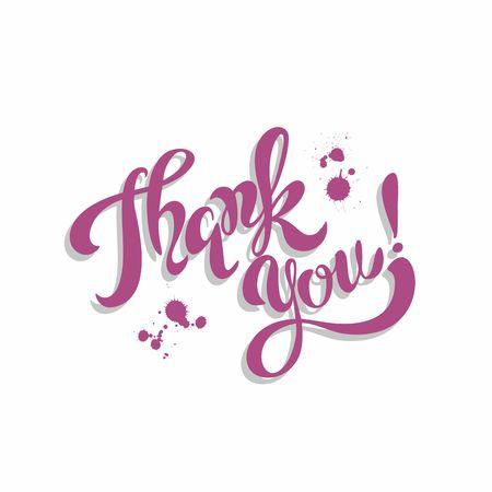 Thank you. Lettering. Purple. Ilustrace