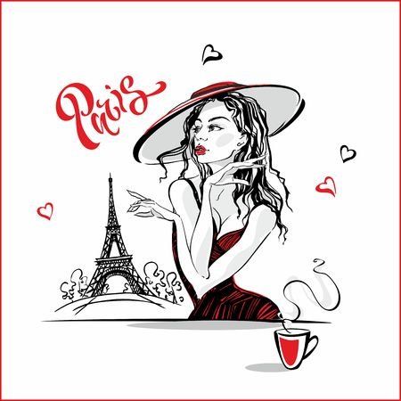 The girl in the hat drinking coffee. Fashion model in Paris. Eiffel tower. Romantic composition. Elegant model on vacation. Tourism industry. Vector