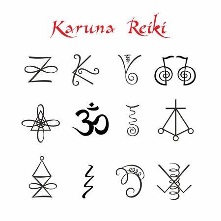 Karuna Reiki. Símbolos Vector de medicina alternativa de energía curativa