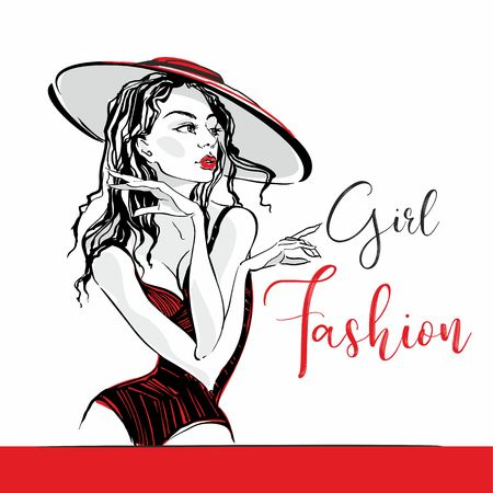 Girl fashion. Lettering. Sketch. Elegant girl in a hat and swimsuit posing. Fashion and beauty industry. Vector