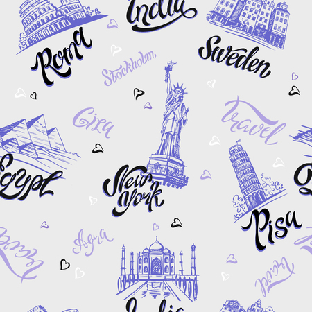 Seamless pattern with landmarks city of America, Sweden, India, Egypt