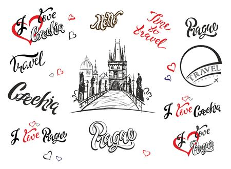 Czechia. Set of elements for design. Prague. Inspiring lettering. Charles bridge sketch. Hand drawing. Travel. Tourism industry Vector
