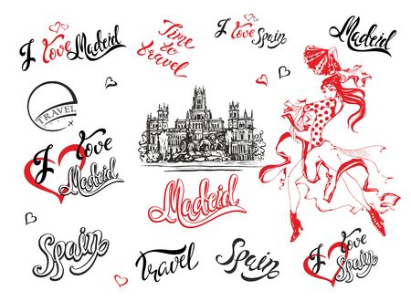 Spain. Set of elements. A sketch of the Cibeles Palace in Madrid. Stylish lettering. The dancing Spanish girl in a national dress. Inscriptions. Flamenco. Vector