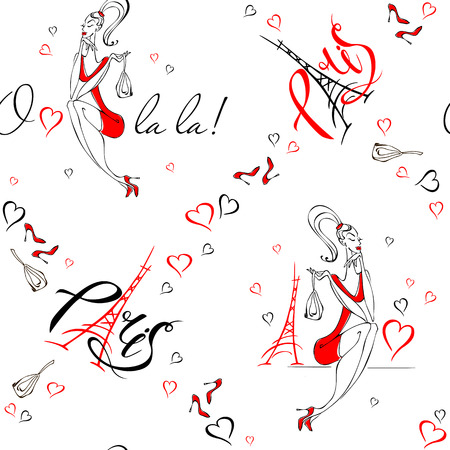 Seamless pattern. Girl in Paris. Romantic print. Girl model on the background of the Eiffel tower. O La La. Lettering. Hearts. Vector