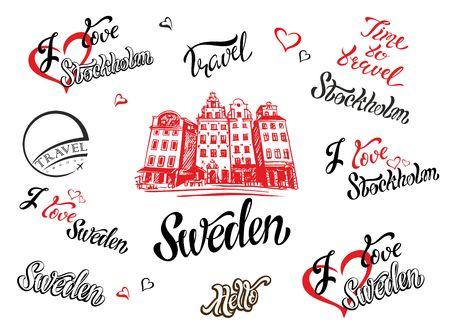 Schweden. Satz von Elementen für Design. Stockholm. Eine Skizze der Architektur. Inspirierende Schrift. Vorlagen. Vektor