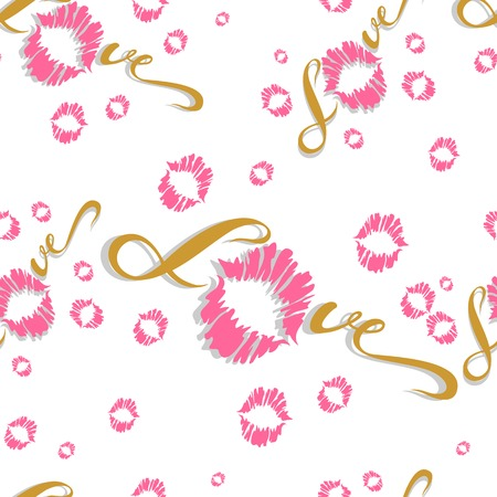 Seamless pattern. Romantic print for fabric. Love. Lettering. Kiss. Lip print. Valentine. Pink  On white background Vector Illustration