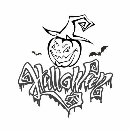 Halloween. magical, ominous lettering. Postcard coloring for all saints day. Cartoon pumpkin monster in a witch hat. Vector