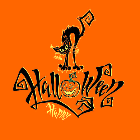 Halloween. A fun card for all saints  Day. Magical magic lettering. Funny cartoon black cat monster. Bat. Orange background. Vector