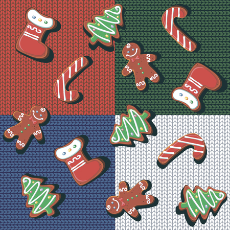 Seamless pattern. Christmas gingerbread cookies on a knitted background. Checkered wool blanket. Patchwork. Christmas treat. Festive background. Vector Illustration