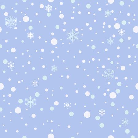 Seamless pattern. Falling snow, snowflakes background Blue Vector Illusztráció