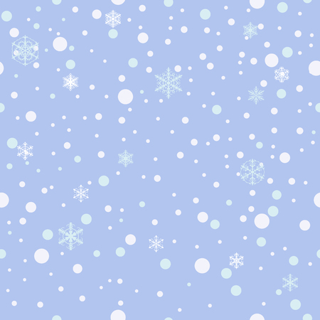 Seamless pattern. Falling snow, snowflakes background Blue Vector Illustration