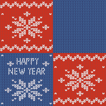 Seamless knitted pattern. New year print. Snowflake. Embroidery inscriptions. happy New Year. Knitted patchwork. Plaid Vector