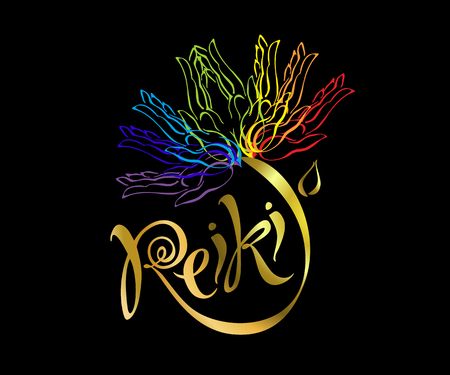 Reiki energy. Logotype. Healing energy. Flower of the rainbow from the palms of man. Alternative medicine. Spiritual practice. Vector Illustration