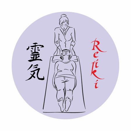 Reiki healing. Master Reiki conducts a treatment session for the patient. Stock Illustratie