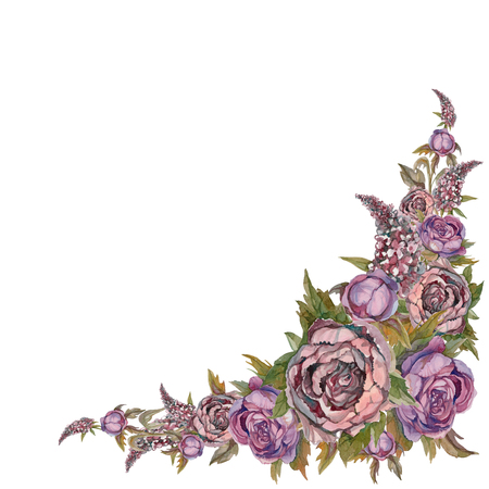 Watercolor. Decorative corner frame of flowers. Roses peonies lilacs. Painting. Design for postcards Stockfoto - 108771017