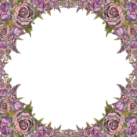 Watercolor. Festive frame of flowers. For postcard design. Painting Stockfoto - 108771573