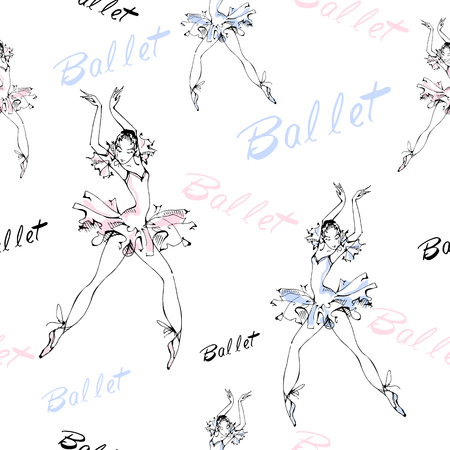 Seamless pattern. Ballet. Dancing ballerinas Inscription Vector illustration Ilustração