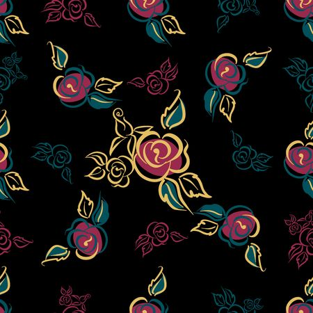 Seamless pattern. Floral print. Roses. bouquets Decorative Black background Vector