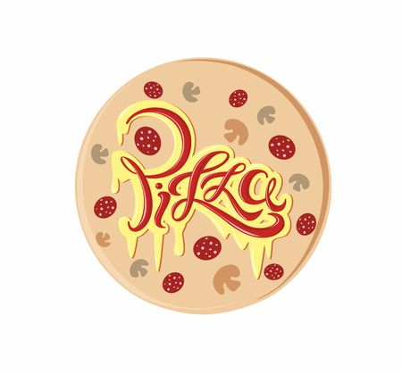 Pizza. Decorative lettering logo. Delicious postcard with melted cheese and ketchup inscription. Vector