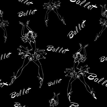 Seamless pattern. Ballet. Dancing ballerinas Inscription Vector illustration Stock Illustratie