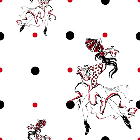Girl dancing flamenco. Seamless pattern. Gypsy. Polka dot background. White Vector