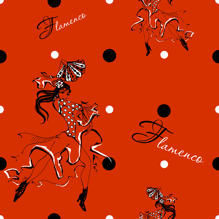 Girl dancing flamenco. Seamless pattern. Gypsy. Polka dot background. Red Vector