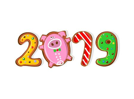 New year. 2019 year of the pig. Ginger biscuits in the form of numbers. Funny pig cookies. Vector