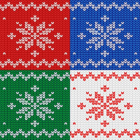 Seamless pattern. Knitted fabric. Ornament snowflake. Wool. Winter decor Red Vector