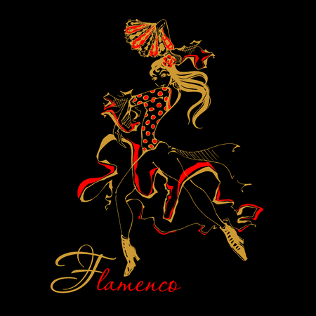 Flamenco Spanish dancer woman vector illustration. The black background Illustration