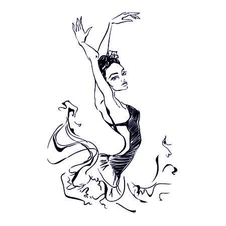 Ballerina. Dancer. Ballet Carmen Graphics Vector illustration Stock Illustratie