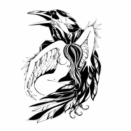Raven and angel.Tattoo Vector illustration