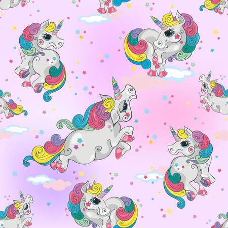 Seamless pattern with magic unicorns. Pink sky background with stars. For girls. Vector