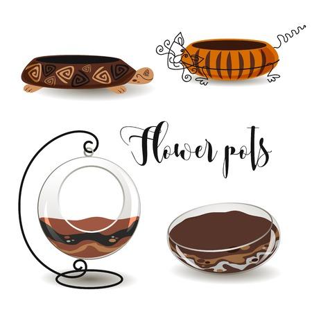 Decorative flower pots. Turtle, cat . Clay pot.  Glass aquariums for flowers Vector