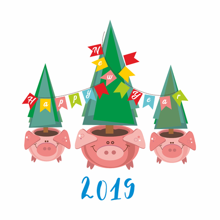 happy New Year. 2019. Funny pig pots with Christmas trees. Vector illustration