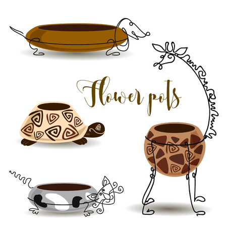 Decorative flower pots. Giraffe turtle cat and dog. Clay pots with forging. Vector Foto de archivo - 127699550