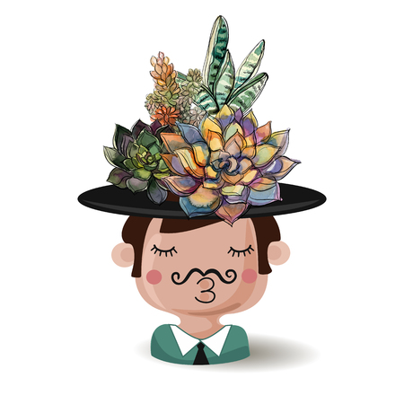 Boy with flowers succulents. Watercolor. Vector illustrations