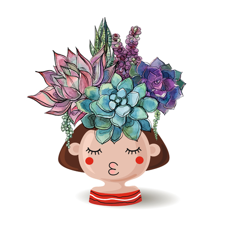 Girl with flowers succulents. Watercolor Vector Ilustrace
