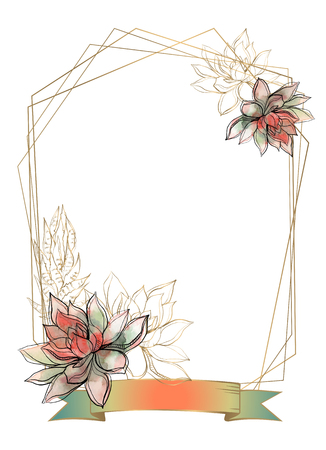 Gold frame with succulents flowers. Watercolor. Graphics Ilustrace