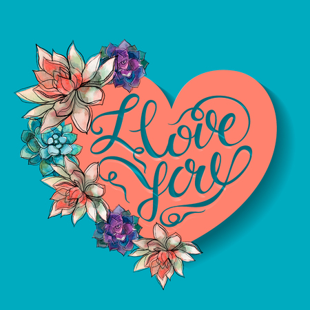 I love you. Valentin. Holiday card. 3D effect. Paper heart with shadow. Lettering Vector Ilustrace