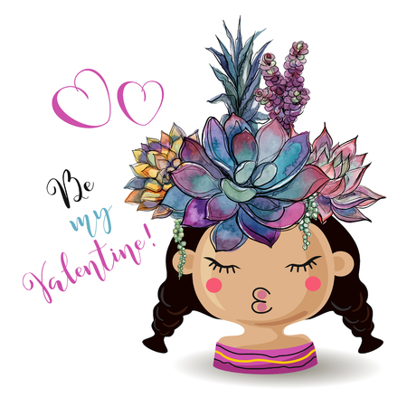 Happy Valentines day. Girl with flowers succulents. Watercolor. Vector