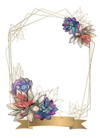 Gold frame with succulents flowers. Watercolor. Graphics Vector