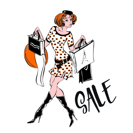 The girl shopping spree. Sale.Discounts. Purchases. Confessions of a Shopaholic Vector