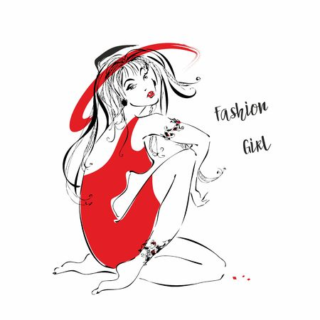 Fashion girl in a hat. Girl in red dress Vector Ilustrace