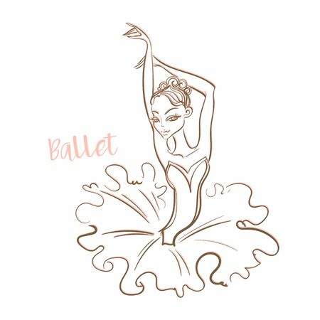 Girl ballerina. Ballet Logotype Vector illustration Standard-Bild - 116008015