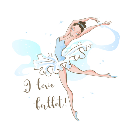 Little ballerina. Ballet. Dancing. I love ballet  Inscription Vector