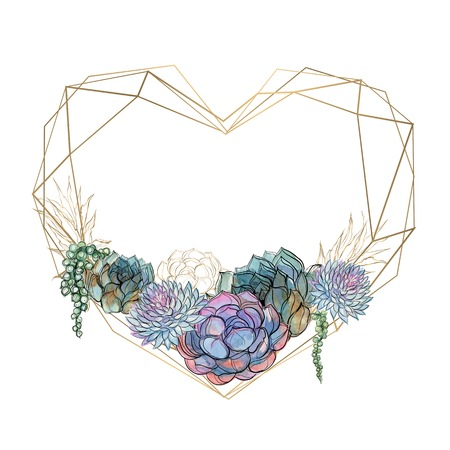 Gold heart frame with succulents. Valentine. Watercolor.Graphics Vector