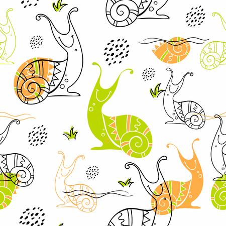 Snails.Seamless pattern in Scandinavian style. Doodles Ilustrace