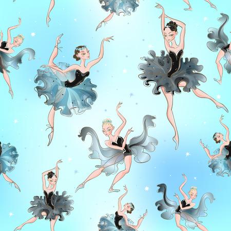 Ballerinas. Seamless pattern. Little princess Vector illustration Illustration